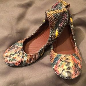 Lucky Brand Reptile Look Multi Color Ballet Flats